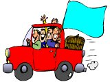 Car full of youths with flag (blank for a message)